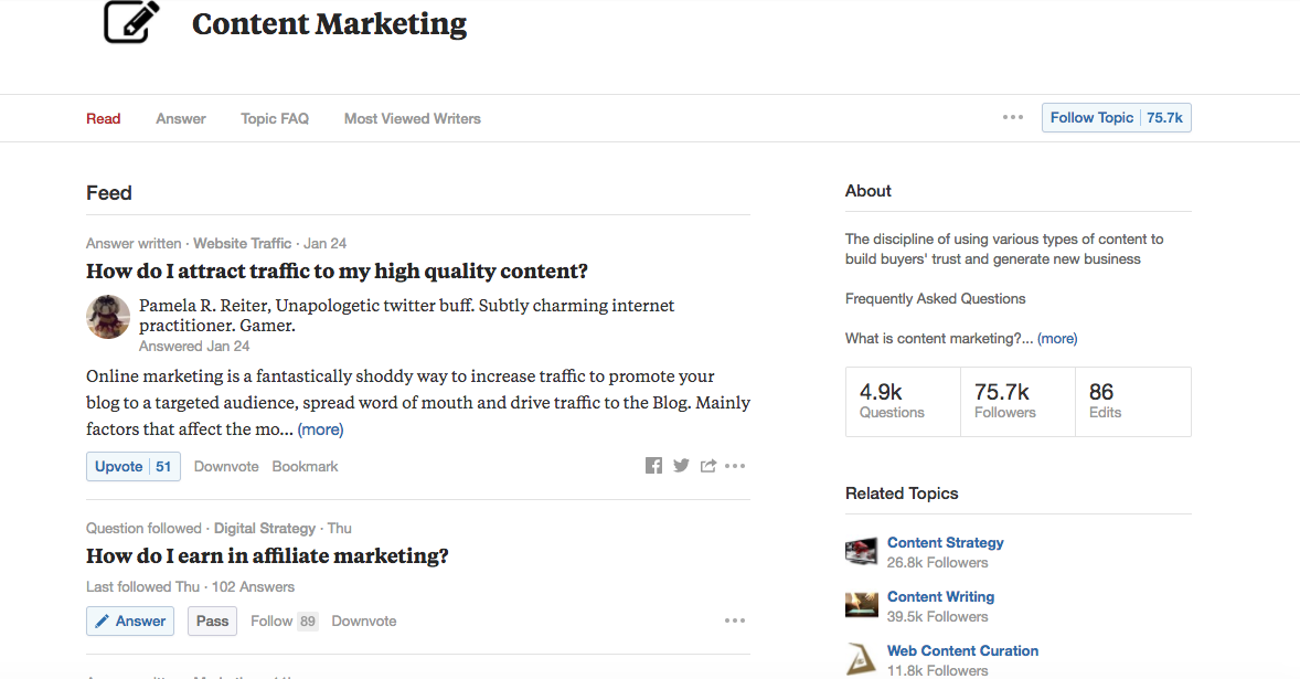 content marketing strategy - Quora search results screen