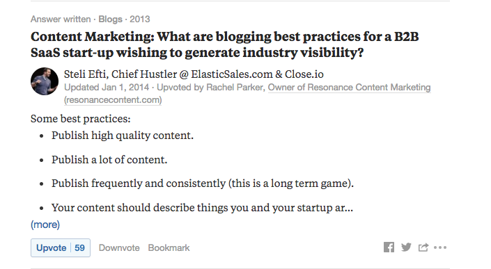 content marketing strategy - Quora answer screen