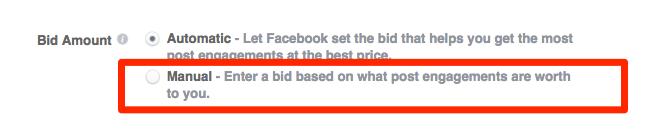 bid costs on Facebook