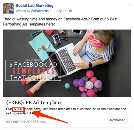 social proof ad