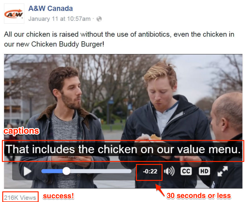Facebook video ad - a&w