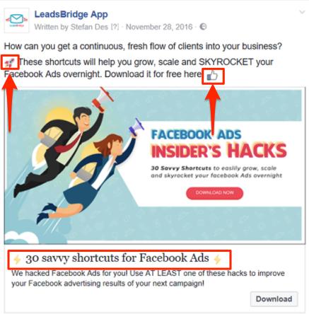 emoji in Facebook ad