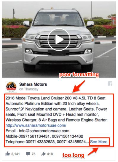 worst Facebook ads - long copy