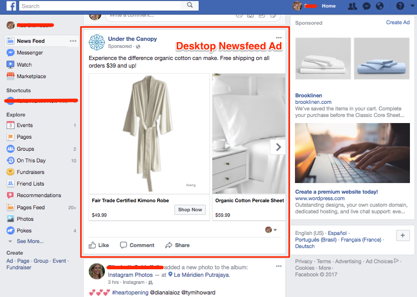 desktop News Feed FB ad example