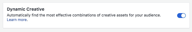 Facebook dynamic creative ad switch
