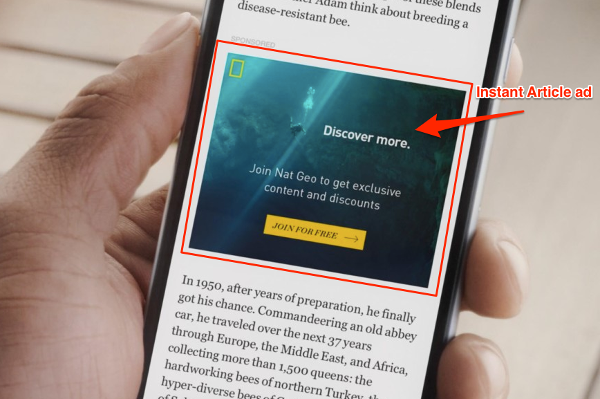 instant article Facebook ad placement