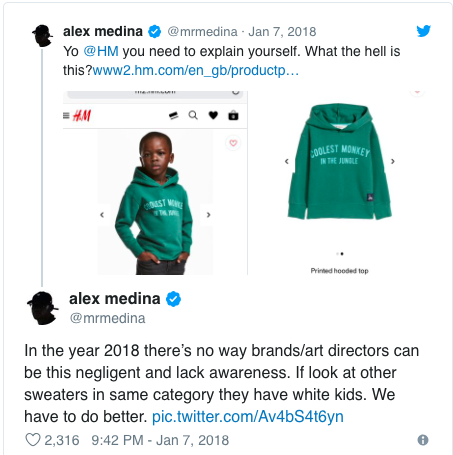 bad marketing campaigns - H&M reaction on Twitter